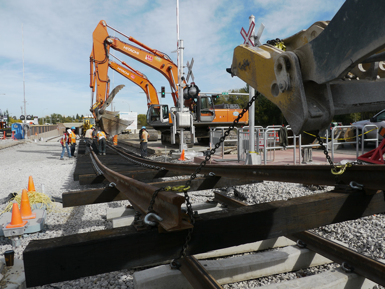 Summer south LRT track construction
